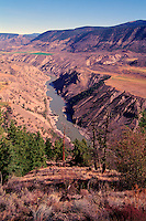 Cariboo Chilcotin Coast Region, BC, British Columbia, Canada - Benchland Plateau and Coast Mountains along Fraser River and Fraser Canyon
