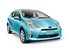 Blue 2013 Toyota Prius C mid-size hybrid car isolated on white background with clipping path