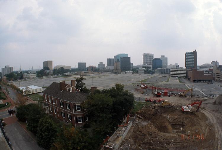 1996 September 11..Redevelopment..Macarthur Center.Downtown North (R-8)..PROGRESS.LOOKING SOUTH.FROM FREEMASON GARAGE...NEG#.NRHA#..