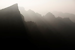 Foggy mountan landscape at sunset in Tianmen Mountain National Park, Zhangjiajie, Hunan, China