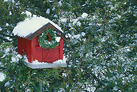 Red barn birdhouse decorated for Christmas with wreath in winter snow and evergreen trees