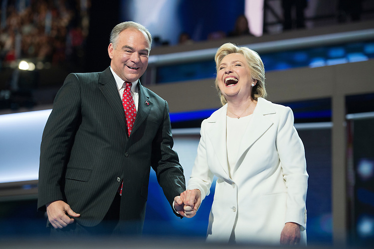 UNITED STATES - JULY 28: Democratic presidential nominee Hillary Clinton greets her running mate Tim Kaine at the Wells Fargo Center in Philadelphia, Pa., on the final night of the Democratic National Convention, July 28, 2016. (Photo By Tom Williams/CQ Roll Call)