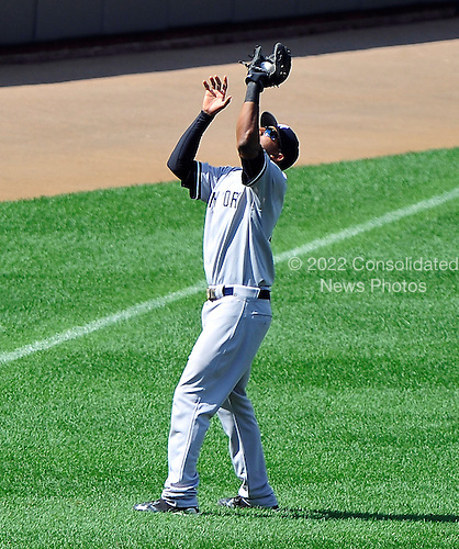 New York Yankees shortstop Eduardo Nunez (26) catches a pop fly from Baltimore Oriole shortstop J.J. Hardy to end the sixth inning at Oriole Park at Camden Yards in Baltimore, Maryland in the first game of a doubleheader on Sunday, August 28, 2011.  The Orioles won the game 2 - 0..Credit: Ron Sachs / CNP.(RESTRICTION: NO New York or New Jersey Newspapers or newspapers within a 75 mile radius of New York City)