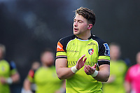 George Catchpole of Leicester Tigers shouts out encouragement. Anglo-Welsh Cup match, between Saracens and Leicester Tigers on February 5, 2017 at Allianz Park in London, England. Photo by: Patrick Khachfe / JMP