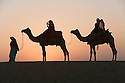 Rajasthani dancers in traditional costumes crossing sand dunes in Thar Desert at sunrise; backlit; Rajasthan, India --- Model Released