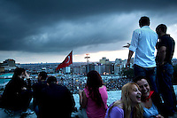 Turkey/Istanbul/June 2,2013.Turkish protestors in a roof top  Taksim Square.Thousands of  Anti-government Turkish protesters  fight with police and they called on Prime Minister Recep Tayyip Erdogan to resign. <br /> Giorgos Moutafis /Felix Features