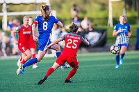 Boston, MA - Friday May 19, 2017: Julie King and Meghan Klingenberg during a regular season National Women's Soccer League (NWSL) match between the Boston Breakers and the Portland Thorns FC at Jordan Field.