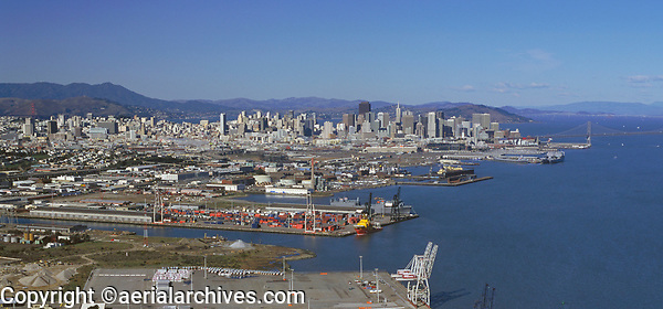 aerial photography Port of San Francisco, Intermodal Container Transfer Facility, including Pier 80--the North Container Terminal and Pier 94