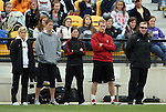 04 December 2011: Stanford head coach Paul Ratcliffe (right) with staff. The Stanford University Cardinal played the Duke University Blue Devils at KSU Soccer Stadium in Kennesaw, Georgia in the NCAA Division I Women's Soccer College Cup Final.