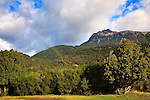 A rainbow marks the Argentinian/Chilean border near the Futalefu River in Chile.