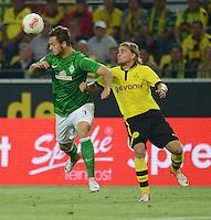FUSSBALL   1. BUNDESLIGA   SAISON 2012/2013   1. SPIELTAG Borussia Dortmund - SV Werder Bremen                  24.08.2012      Marko Arnautovic (li, SV Werder Bremen) gegen Marcel Schmelzer (re, Borussia Dortmund)