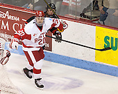 Matt Ronan (BU - 20), Robbie Vrolyk (NU - 91) - The Boston University Terriers defeated the visiting Northeastern University Huskies 5-0 on senior night Saturday, March 9, 2013, at Agganis Arena in Boston, Massachusetts.