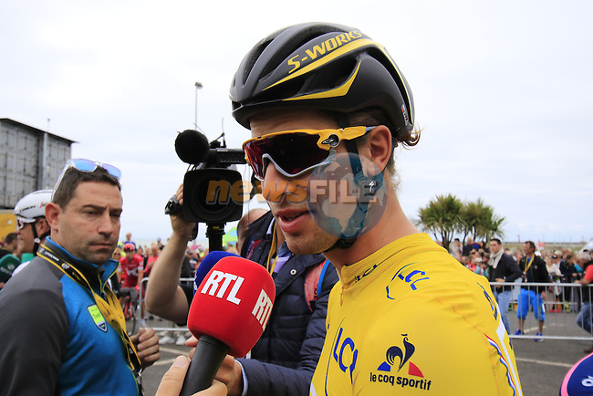 Race leader Yellow Jersey Peter Sagan (SVK) Tinkoff at sign on before the start of Stage 3 of the 2016 Tour de France, running 223.5km from Granville to Angers, France . 4th July 2016.<br /> Picture: Eoin Clarke | Newsfile<br /> <br /> <br /> All photos usage must carry mandatory copyright credit (&copy; Newsfile | Eoin Clarke)
