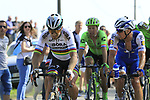World Champion Peter Sagan (SVK) Bora-Hansgrohe and Zdenek Stybar (CZE) Quick-Step come off  pave sector 10 Merignies a Avelin during the 115th edition of the Paris-Roubaix 2017 race running 257km Compiegne to Roubaix, France. 9th April 2017.<br /> Picture: Eoin Clarke | Cyclefile<br /> <br /> <br /> All photos usage must carry mandatory copyright credit (&copy; Cyclefile | Eoin Clarke)