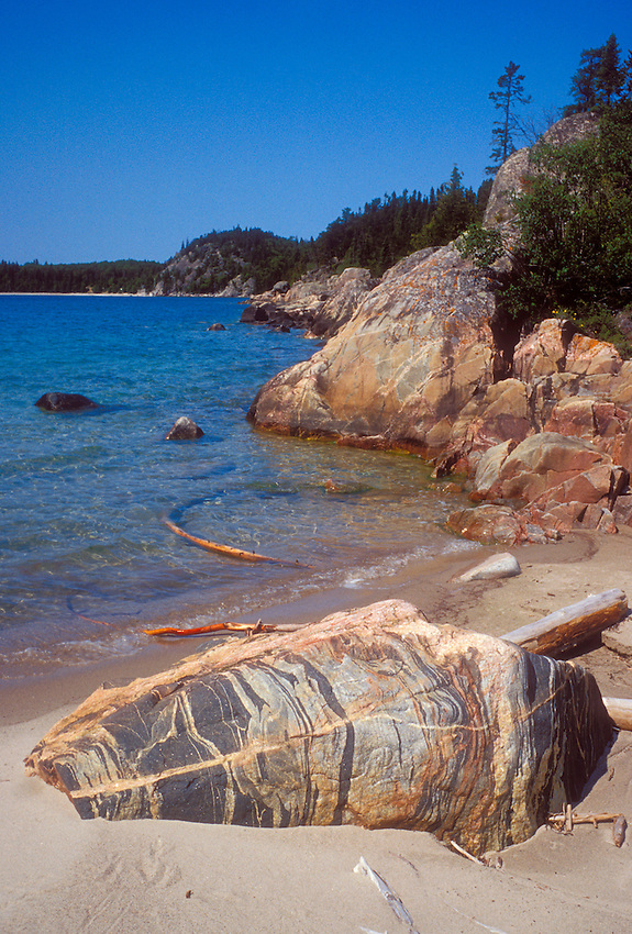 A striped boulder on a wilderness beach in Pukaskwa National Park near White River, Ontario.