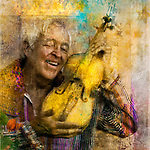 Photo illustration art of an elderly man joyfully holding his yellow violin.