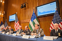 New York Mayor Bill de Blasio, third from left,  and NYPD Commissioner James O'Neill, fourth from left, with other high-ranking members of the NYPD brief the media at their monthly press conference on October crime statistics at One Police Plaza in New York on Tuesday, November 1, 2016.  (© Richard B. Levine)