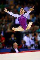 Oct 18, 2006; Aarhus, Denmark; Lais Souza of Brazil performs split leap on floor exercise during women's team final at 2006 World Championships Artistic Gymnastics.<br />