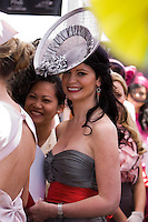 Deborah Hunter waiting for the finalists of 2008 Melbourne Cup Fashions on the Field to be announced. Deborah ended up as the second runner up in the competition.