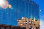 The Wilma building is reflected in the windows of the new First Interstate Bank building in downtown Missoula, Montana