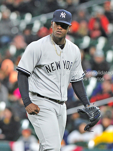New York Yankees starting pitcher Luis Severino (40) looks determined as he returns to the dug-out after pitching out of a jam in the first inning allowing only a single run against the Baltimore Orioles at Oriole Park at Camden Yards in Baltimore, MD on Friday, April 7, 2017.<br /> Credit: Ron Sachs / CNP<br /> (RESTRICTION: NO New York or New Jersey Newspapers or newspapers within a 75 mile radius of New York City)
