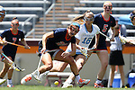 01 May 2016: Syracuse's Kayla Treanor (21) and North Carolina's Carly Reed (16) chase a loose ball. The University of North Carolina Tar Heels played the Syracuse University Orange at Lane Stadium in Blacksburg, Virginia in the 2016 Atlantic Coast Conference Women's Lacrosse Tournament championship match. North Carolina won 15-14 in overtime.