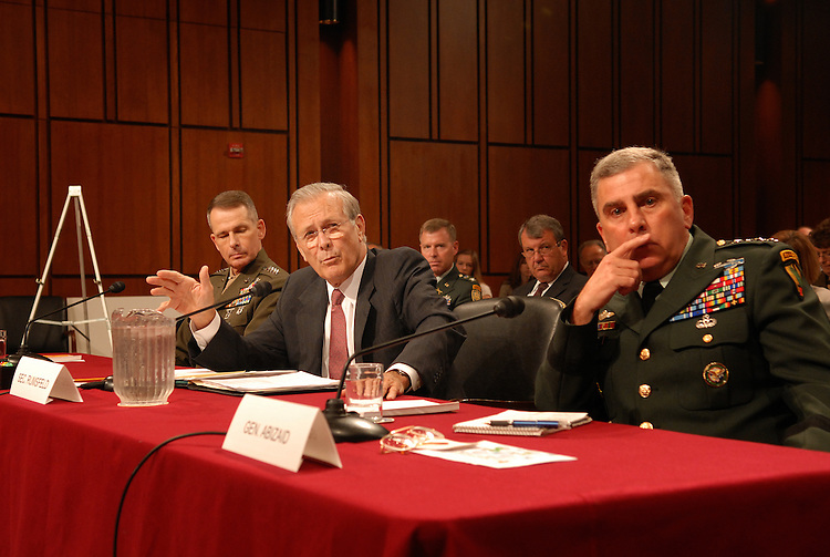 (left to right)Secretary of Defense, Donald Rumsfeld, Chairman of the Joint Chiefs of Staff Gen. Peter Pace,  Secretary of Defense, Donald Rumsfeld, and Army General John Abizaid testify before the Senate Armed Services Committee on the war in Iraq and Afghanistan.