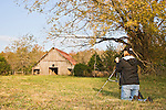Photographer, Ozark Mountains, Buffalo National River, Arkansas, autumn, historic barn