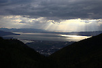1309-22 2678<br /> <br /> 1309-22 BYU Campus Aerials<br /> <br /> Brigham Young University Campus, Provo, <br /> <br /> Provo Canyon, Sunset, Storm Clouds, Provo Valley<br /> <br /> September 6, 2013<br /> <br /> Photo by Jaren Wilkey/BYU<br /> <br /> &copy; BYU PHOTO 2013<br /> All Rights Reserved<br /> photo@byu.edu  (801)422-7322
