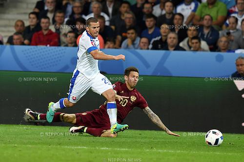 Viktor Pecovsky (Slovakia) ; <br /> June 15, 2016 - Football : Uefa Euro France 2016, Group B, Russia 1-2 Slovakia at Stade Pierre Mauroy, Lille Metropole, France.; ;(Photo by aicfoto/AFLO)