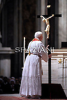 Pope Benedict XVI  the ceremony of the Good Friday Passion of the Lord Mass in Saint Peter's Basilica at the Vatican .April 22, 2011..