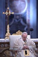 Pope Francis in the Sunday's Mass in the Armenian Catholic rite at Peter's Basilica  at the Vatican, on April 12, 2015.