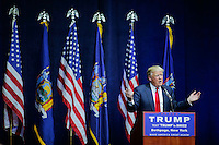 BETHPAGE, NY - APRIL 6 : U.S. Republican presidential candidate Donald Trump speaks to supporters during a rally on April 6, 2016 in Bethpage, New York. Front-running Republican candidate Trump will address supporters on the heels of a potentially damaging loss in the Wisconsin primary. Photo by VIEWpress
