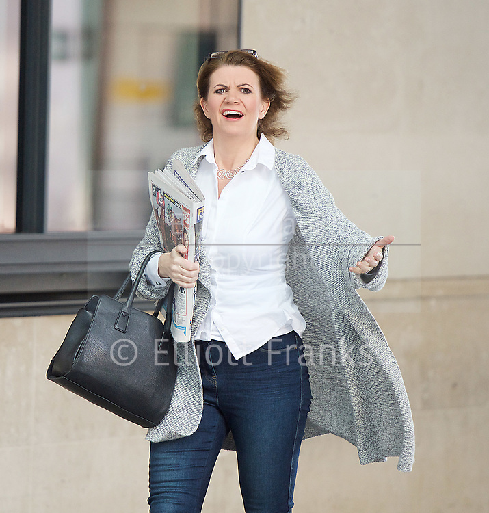 BBC, Broadcasting House, London, Great Britain <br /> 9th April 2017 <br /> <br /> Julia Hartley-Brewer<br /> Broadcaster<br /> <br /> <br /> Photograph by Elliott Franks <br /> Image licensed to Elliott Franks Photography Services
