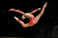 Anna Bessonova of Ukraine split leaps with clubs at 2007 Thiais Grand Prix near Paris, France on March 25, 2007.