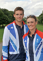 Windsor, Great Britain,   left Peter REED and Heather STANNING, Team GB, 2012 Olympic games, London, Rowing Team announcement  photocall  The Long Walk, Windsor Great Park, Windsor, Berks Wednesday  06/06/2012 . . [Mandatory Credit. Peter Spurrier/Intersport Images]