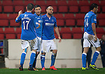 St Johnstone v Ross County....22.11.14   SPFL<br /> Michael O'Halloran celebrates his goal with Lee Croft and James McFadden<br /> Picture by Graeme Hart.<br /> Copyright Perthshire Picture Agency<br /> Tel: 01738 623350  Mobile: 07990 594431