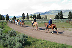 WY: Wyoming; Yellowstone National Park:.Roosevelt Lodge western cookout with horse rides and wagon rides..Photo #: yellow1444.Photo copyright Lee Foster, 510/549-2202, lee@fostertravel.com, www.fostertravel.com..