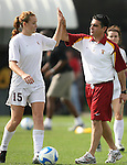 09 December 2007: USC's Janessa Currier (15) and head coach Ali Khosroshahin. The University of Southern California Trojans defeated the Florida State University Seminoles 2-0 at the Aggie Soccer Stadium in College Station, Texas in the NCAA Division I Womens College Cup championship game.
