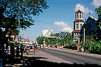 Philippines: Agoo--the Philippines Main Street, Church. Photo '82.