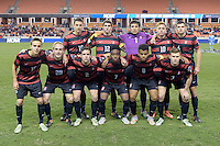 Houston, TX - Friday December 9, 2016: Stanford Cardinal starting XI at the NCAA Men's Soccer Semifinals at BBVA Compass Stadium in Houston Texas.
