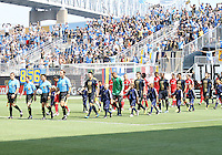 Teams of the Philadelphia Union and Toronto FC enter the field during an MLS match at PPL stadium in Chester, PA. on July 17 2010. Union won 2-1 with a last minute penalty kick goal.