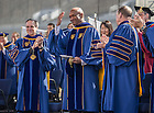 May 18, 2014; Ray Hammond acknowledges a standing ovation after he delivered the Commencement address at the 2014 Commencement ceremony in Notre Dame Stadium.<br /> <br /> Photo by Matt Cashore/University of Notre Dame