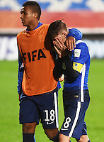 Auckland, New Zealand - Sunday, June 14, 2015: The USMNT U-20 are defeated by Serbia 6-5 in PK's after going 0-0 in regulation and extra time during the quarter final round of the FIFA U-20 World Cup at North Harbour Stadium.