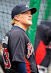 31 March 2011: Atlanta Braves outfielder Nate McLouth awaits his turn in the batting cage prior to the Opening Day festivities and game against the Washington Nationals at Nationals Park in Washington, District of Columbia. The Braves shut out the Nationals 2-0 to open the 2011 Major League Baseball season. Mandatory Credit: Ed Wolfstein Photo