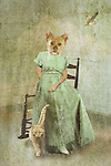 dog dressed as female, sitting in a chair, fantasy art