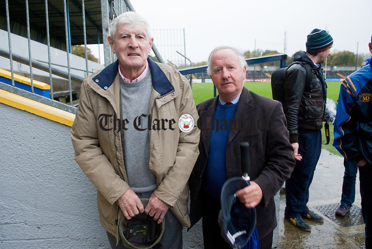 Councillor Gabriel Keating with a West Clare friend  following the senior county hurling final win over Cratloe at Cusack Park. Photograph by John Kelly.