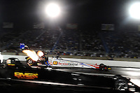 Jul, 8, 2011; Joliet, IL, USA: NHRA top fuel dragster driver Dom Lagana (far lane) alongside Troy Buff during qualifying for the Route 66 Nationals at Route 66 Raceway. Mandatory Credit: Mark J. Rebilas-