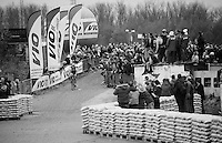 race leader Tom Meeusen (BEL/Telenet-Fidea) coming from the river (Rupel) banks onto the industrial site the race course goes through<br /> <br /> Jaarmarktcross Niel 2015  Elite Men &amp; U23 race
