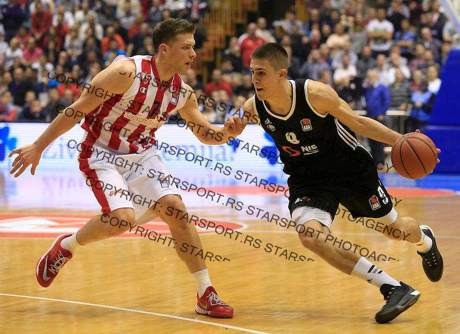 Kosarka ABA League season 2015-2016<br /> Crvena Zvezda v Partizan<br /> Vanja Marinkovic (R) and Gal Mekel<br /> Beograd, 03.11.2015.<br /> foto: Srdjan Stevanovic/Starsportphoto&copy;